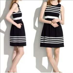 Madewell Fit & Flare Black & White Striped Dress